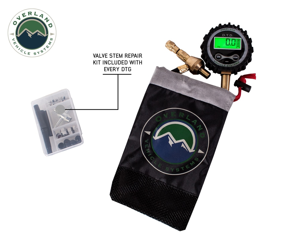 Overland Vehicle Systems Digital Tire Tire Deflator with Valve Kit & Storage Bag Universal