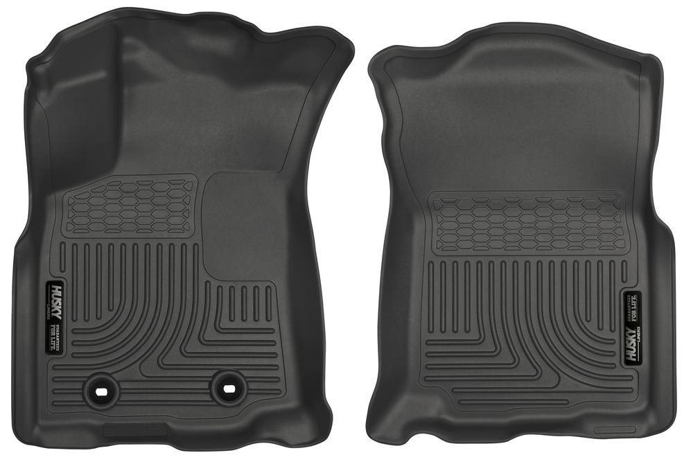 Husky Floor liner, Molded smooth fit raised ribs (2 piece) DBL Cab - 2016-2017