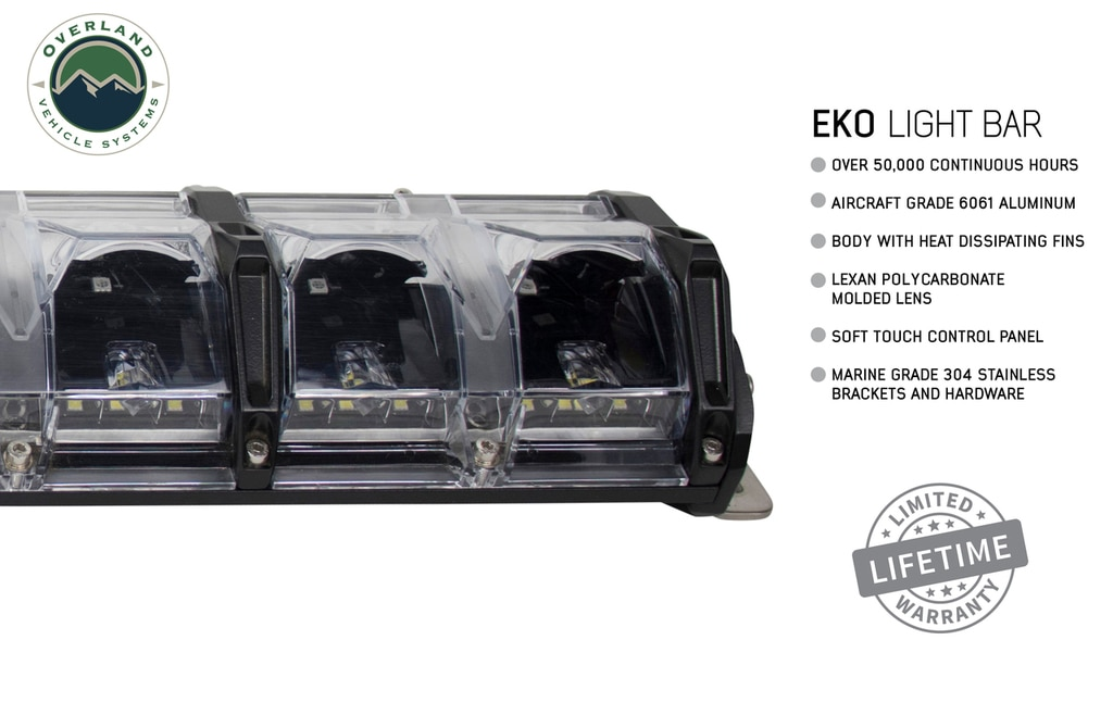 Overland Vehicle Systems 40 Inch LED Light Bar With Variable Beam DRL, RGB Back Light 6 Brightness EKO