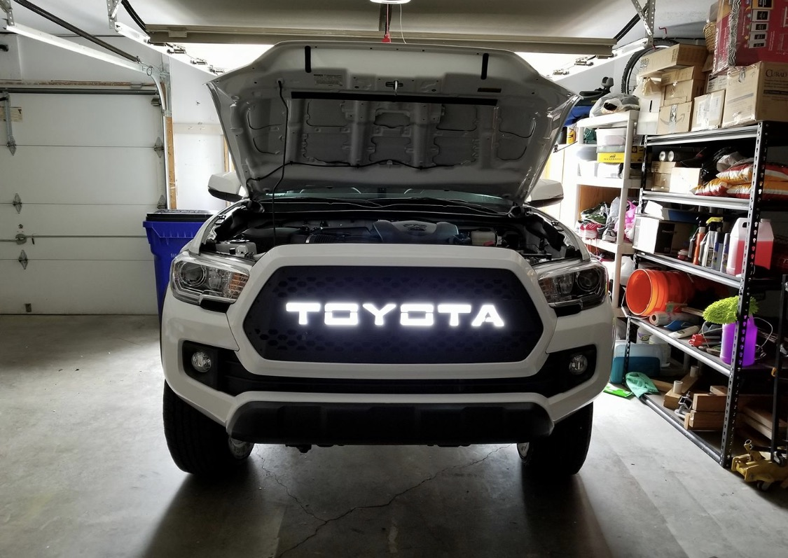 DB Customz Tacoma Drop-In Grille Insert; TRD Style with LED Night Glow; 2016-2020