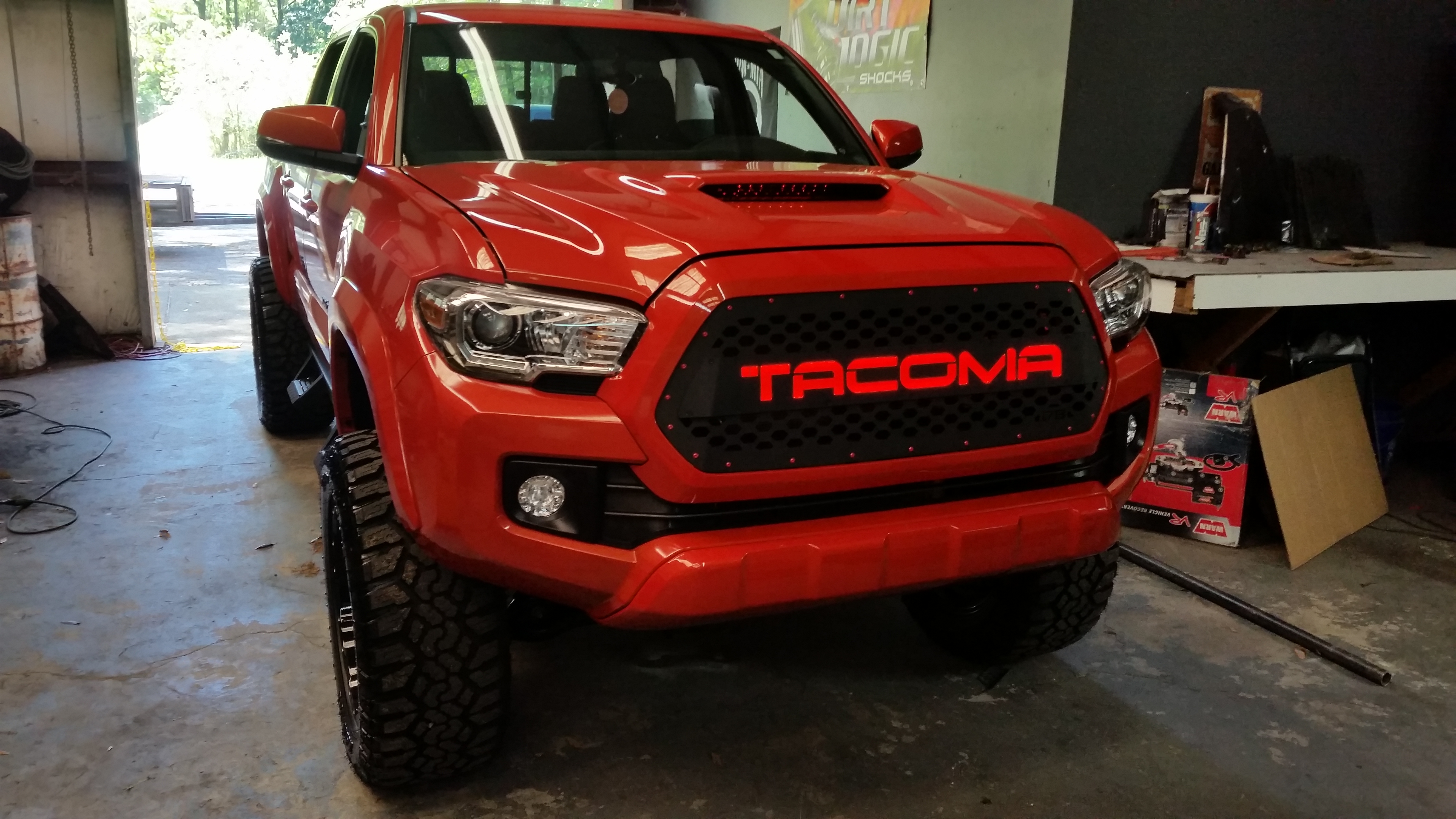 """DB Customz 2016-2018 Tacoma Drop-In Grille Insert """"TRD"""" Style with LED NIGHT GLOW [16TACV317B ..."""