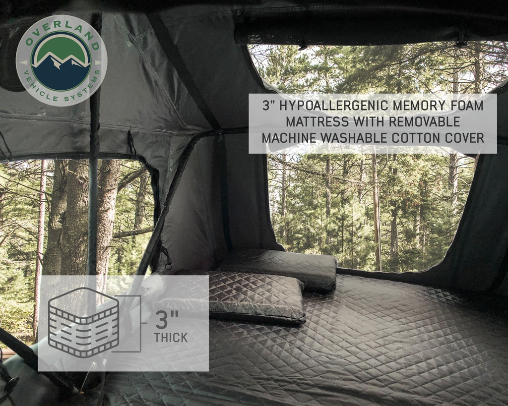 Overland Vehicle Systems Roof Top Tent 2 Person Extended Roof Top Tent Dark Gray Base With Green Rain Fly With Bonus Pack Nomadic