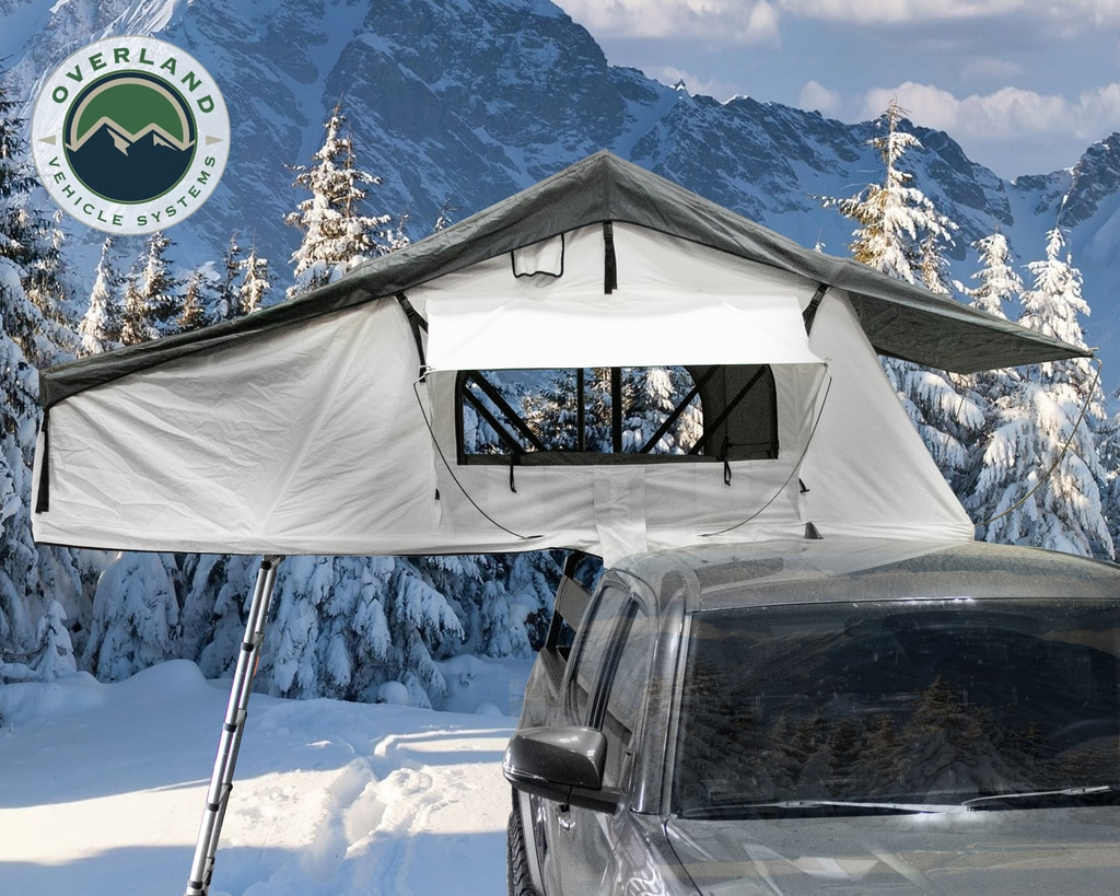 Overland Vehicle Systems Roof Top Tent Extended 3 Person Roof Top Tent White Base/ Dark Gray Rain Fly Black Cover Nomadic Arctic