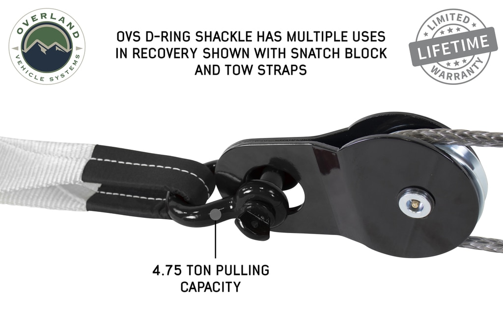Overland Vehicle Systems Recovery Shackle 3/4 Inch 4.75 Ton Steel Gloss Black