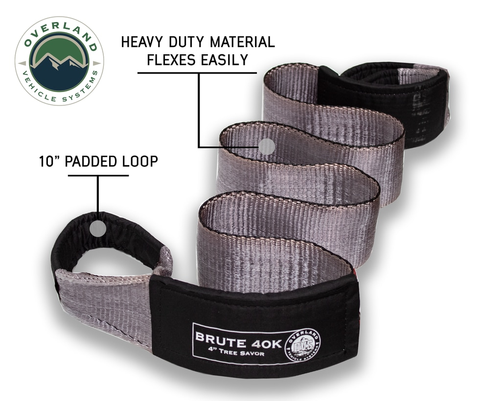 Overland Vehicle Systems Tow Strap 40,000 lb 4 Inch x 8 Foot Gray With Black Ends & Storage Bag Universal