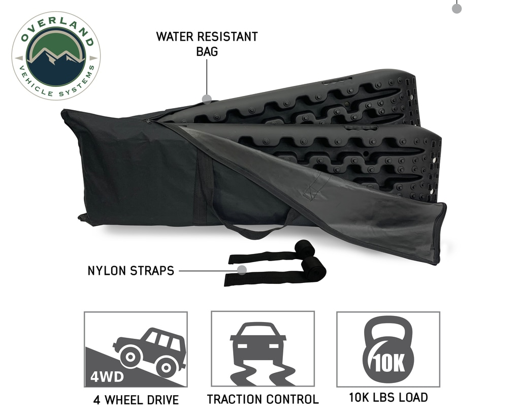 Overland Vehicle Systems Recovery Ramp With Pull Strap and Storage Bag Black/Black