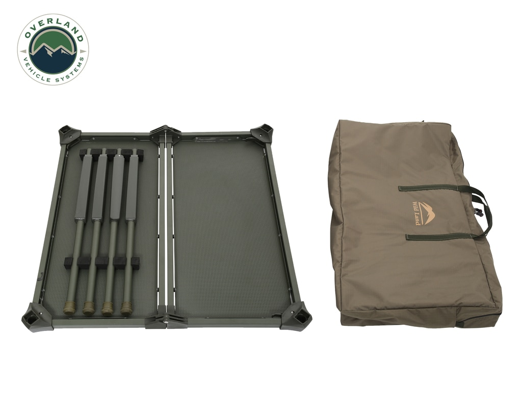 Overland Vehicle Systems Camping Table Folding Portable Camping Table Large With Storage Case Wild Land