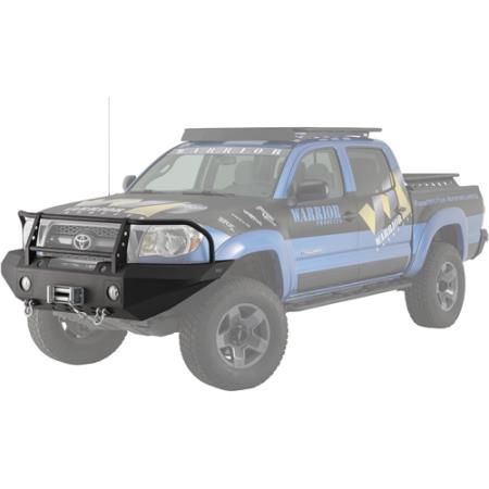 Warrior Tacoma Front Winch Bumper w/ Brushguard, D-ring mts, Light Plates 2012-2015