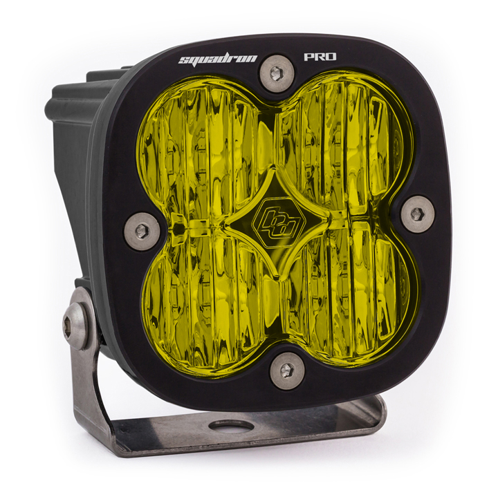 LED Light Pod Black Amber Lens Wide Cornering Pattern Squadron Pro Baja Designs