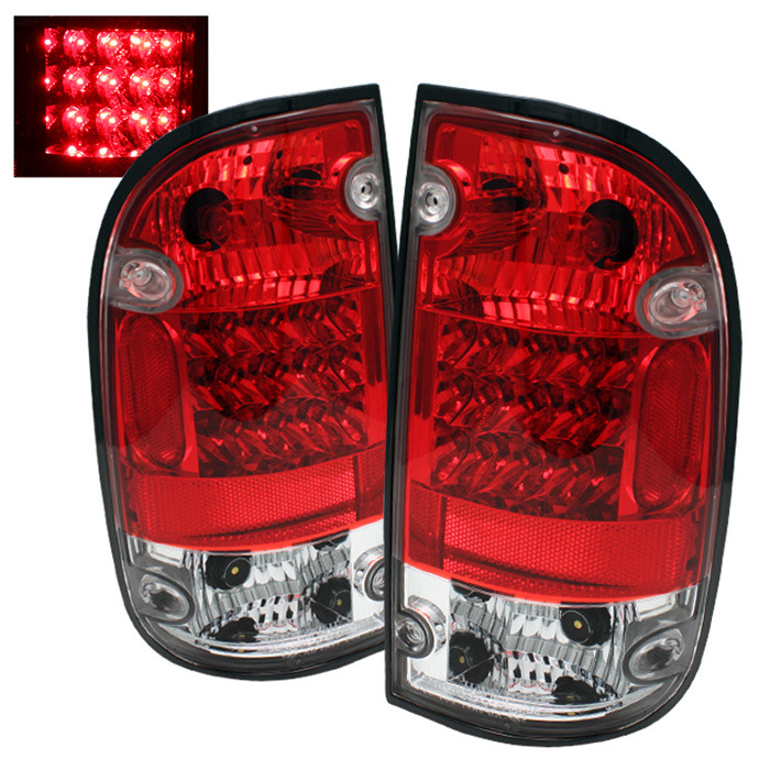 Toyota Tacoma 01-04 LED Tail Lights - Red Clear