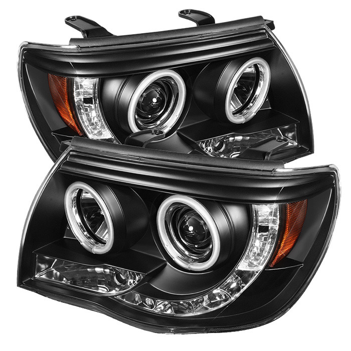 Toyota Tacoma 05-11 Projector Headlights - CCFL Halo - LED ( Replaceable LEDs ) - Black - High H1 (Included) - Low H1 (Included)