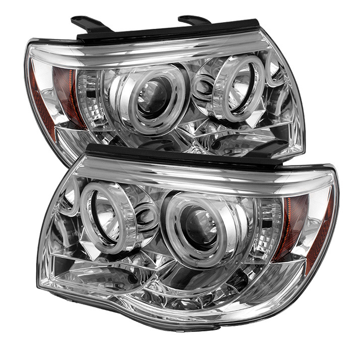 Toyota Tacoma 05-11 Projector Headlights - CCFL Halo - LED ( Replaceable LEDs ) - Chrome - High H1 (Included) - Low H1 (Included)
