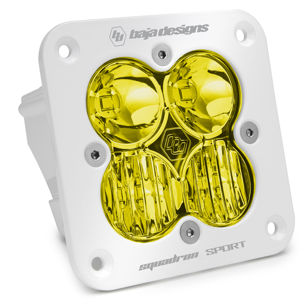Flush Mount LED Light Pod White Amber Lens Driving/Combo Pattern Squadron Sport Baja Designs