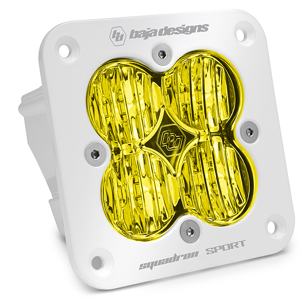 Flush Mount LED Light Pod White Amber Lens Wide Cornering Pattern Squadron Sport Baja Designs