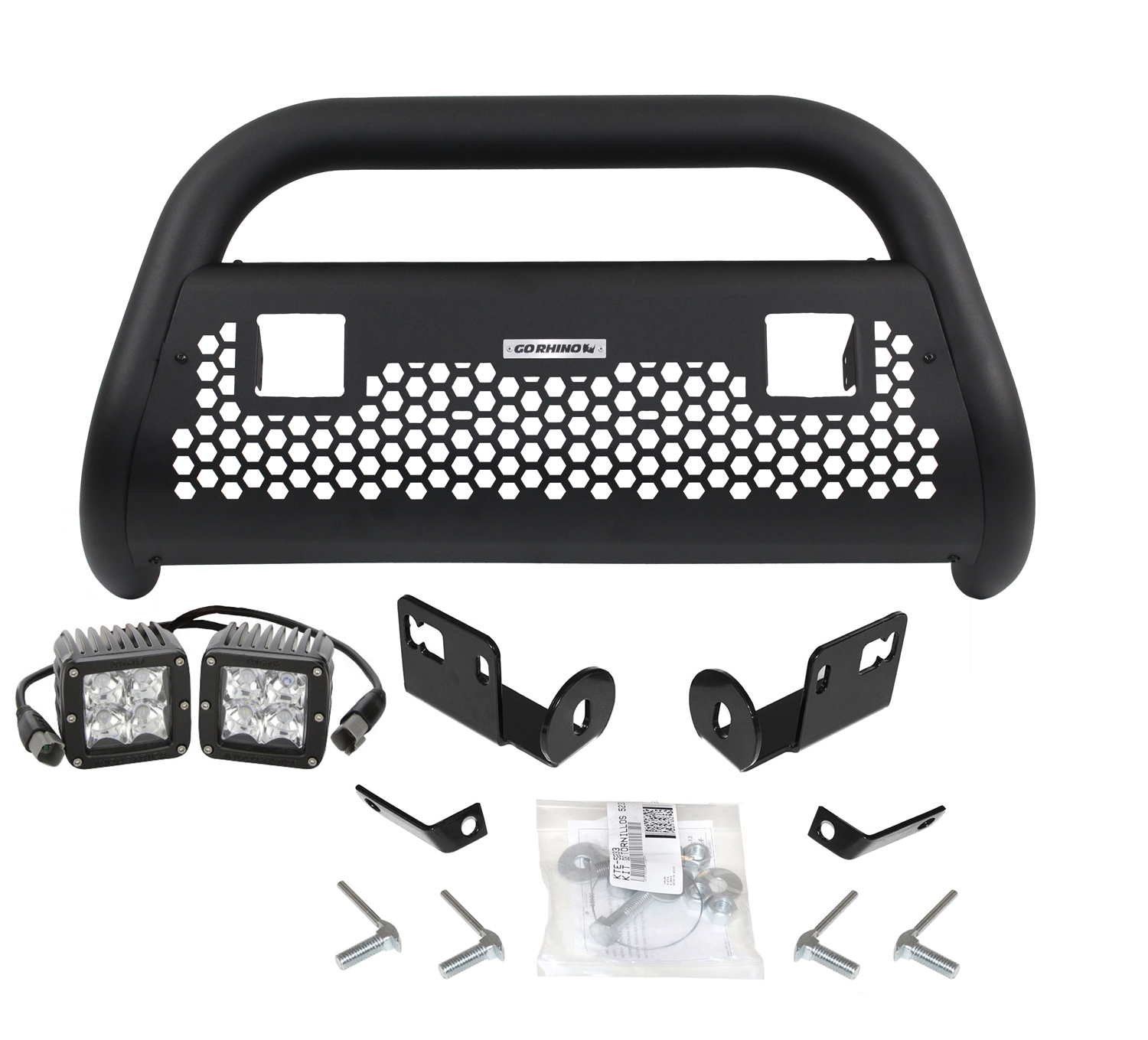 RHINO! Charger 2 Light Ready RC2 LR Bull Bar, Mounting Brackets, & Lights 2005-2015 Tacoma