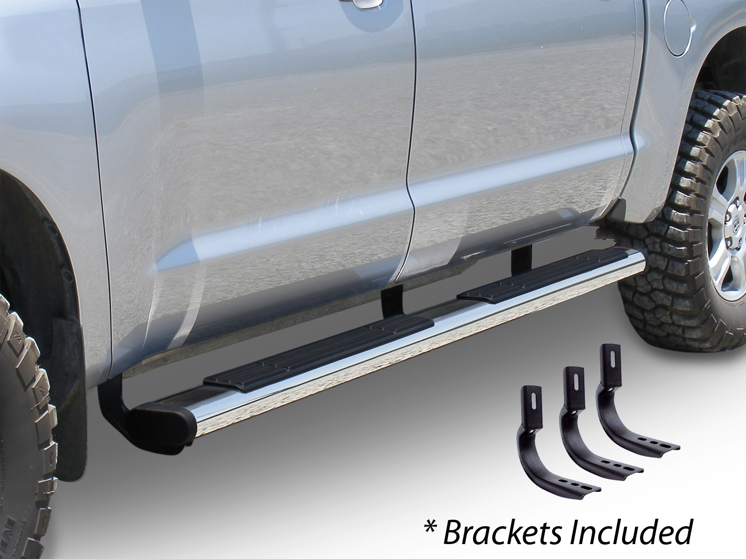 "6"" OE Xtreme Stainless SideSteps Kit - 87"" Long + Brackets"