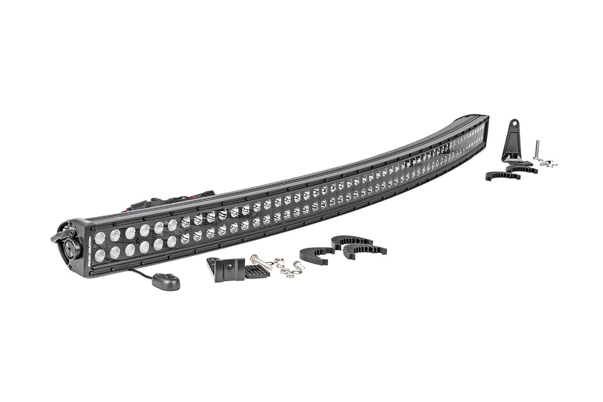 Rough Country 50in Curved Cree LED Light Bar; Dual Row; Black Series