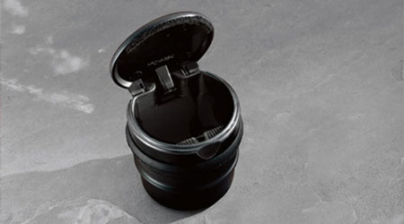 Black Ashtray Cup with Retainer Clip