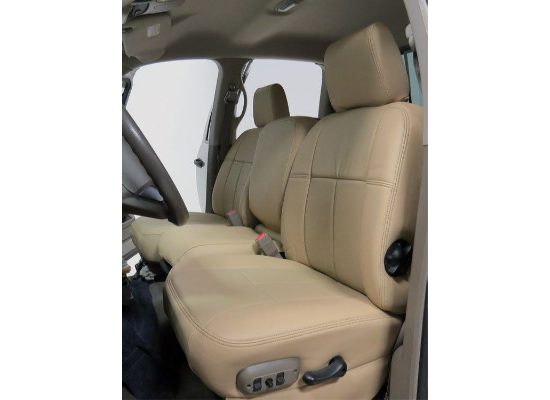 Clazzio Custom Seat Covers - Leather - Front and Rear - Beige 2016+ DBL CAB
