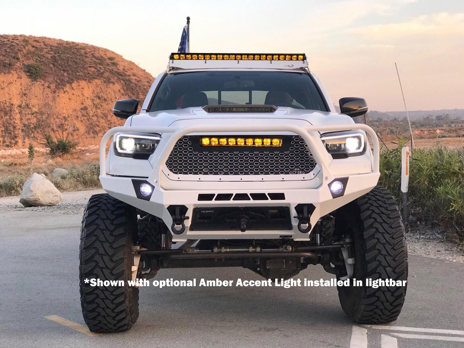 DB Customz Tacoma Drop-In Grille Insert; 20 in Black Ops LED Light Bar; 2016-2020