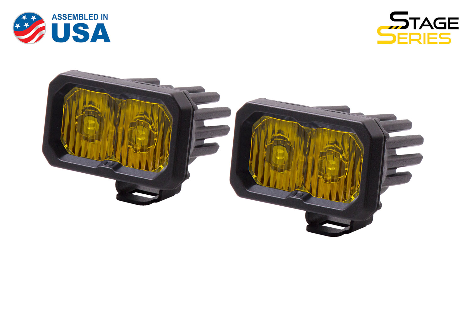 Diode Dynamics Stage Series 2 Inch LED Pod, Sport Yellow Driving Standard ABL Pair