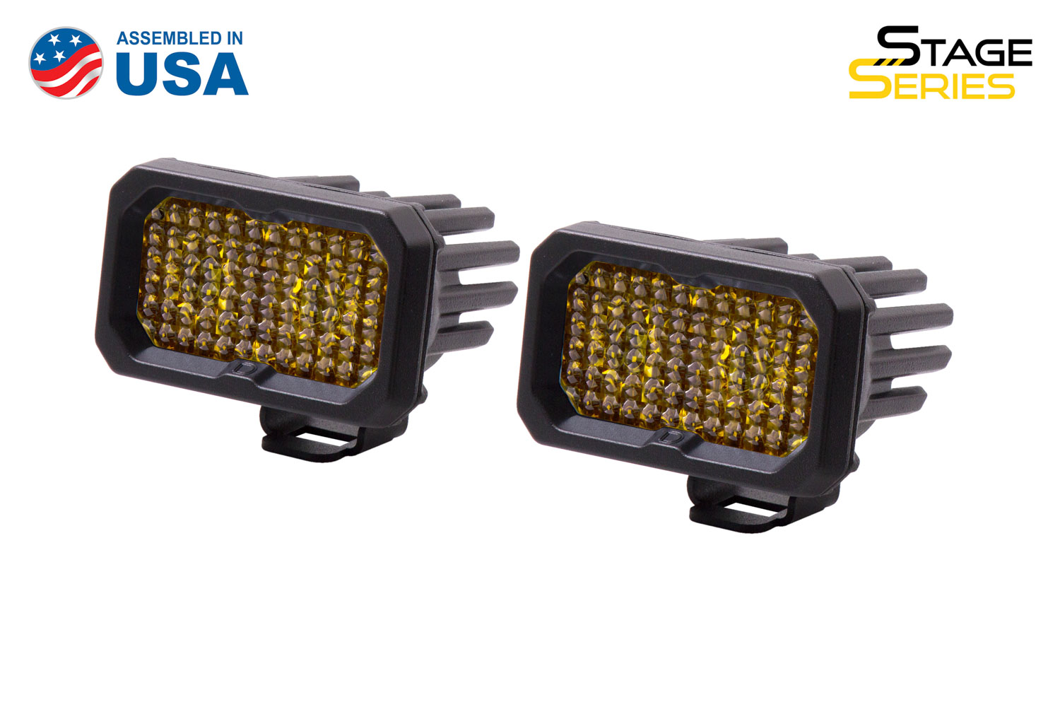 Diode Dynamics Stage Series 2 Inch LED Pod, Sport Yellow Flood Standard ABL Pair