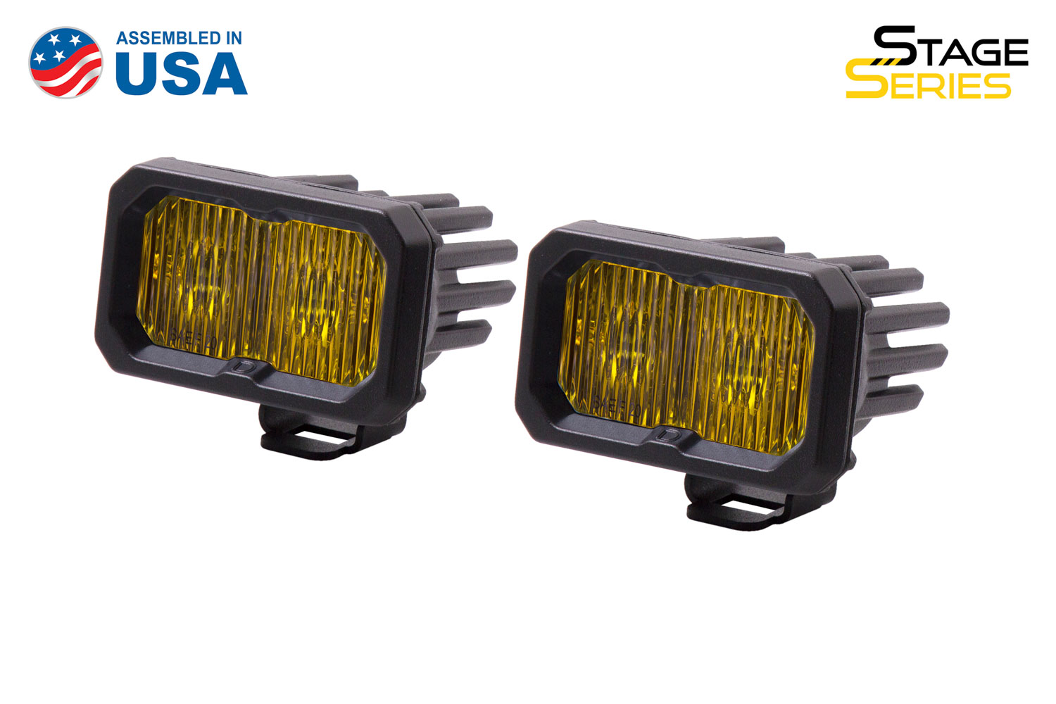 Diode Dynamics Stage Series 2 Inch LED Pod, Pro Yellow Fog Standard ABL Pair