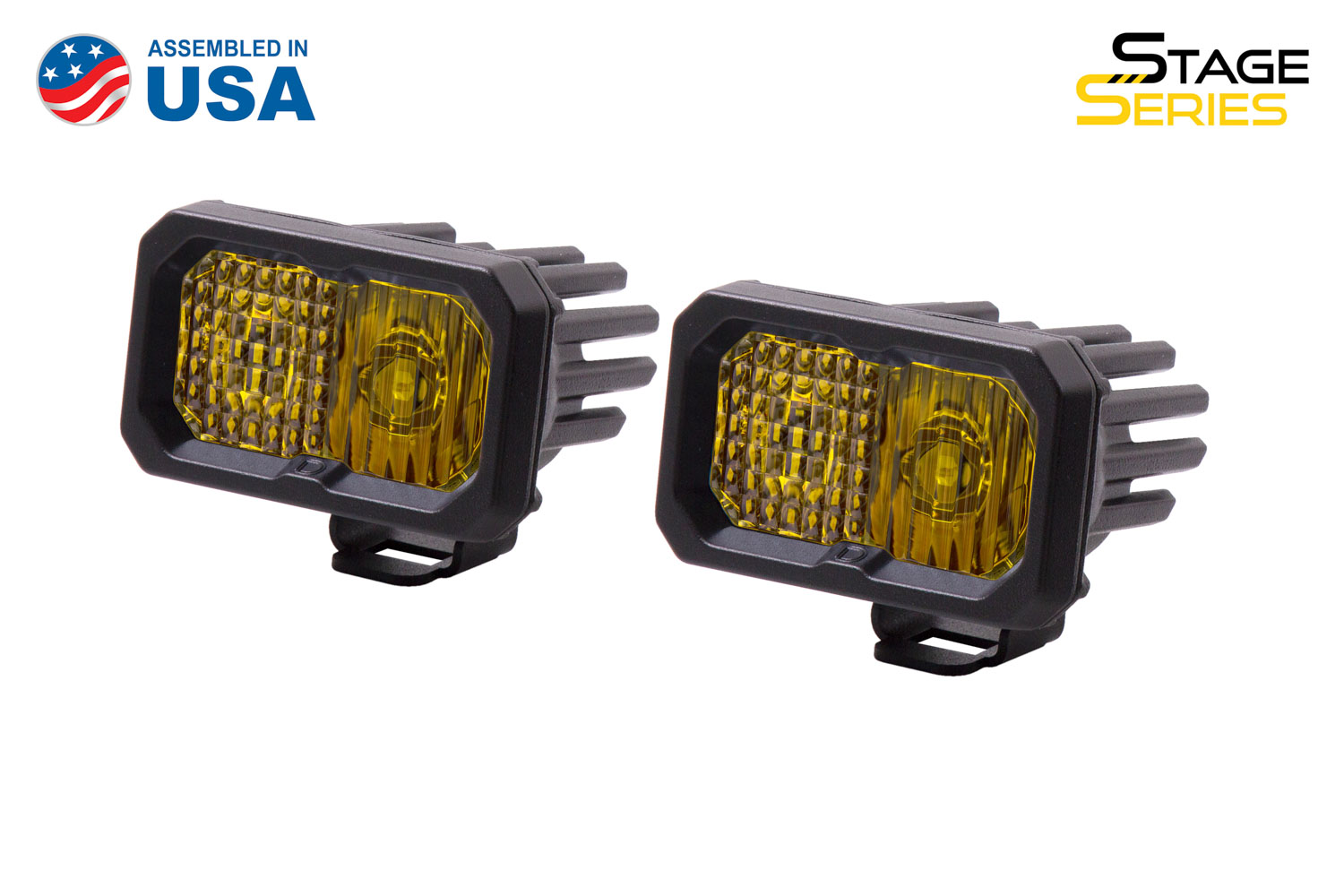 Diode Dynamics Stage Series 2 Inch LED Pod, Pro Yellow Combo Standard ABL Pair