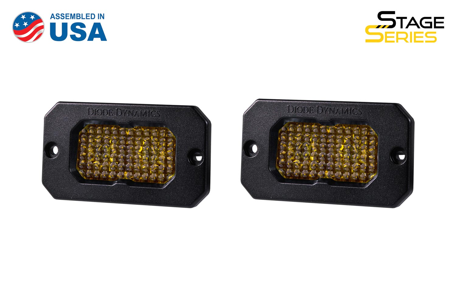 Diode Dynamics Stage Series 2 Inch LED Pod, Sport Yellow Flood Flush ABL Pair