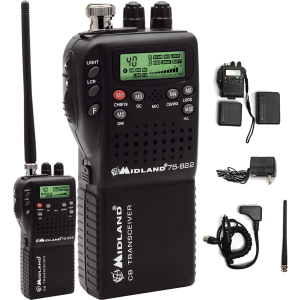 Midland 75-822 Handheld CB Radio with Vehicle Adapter