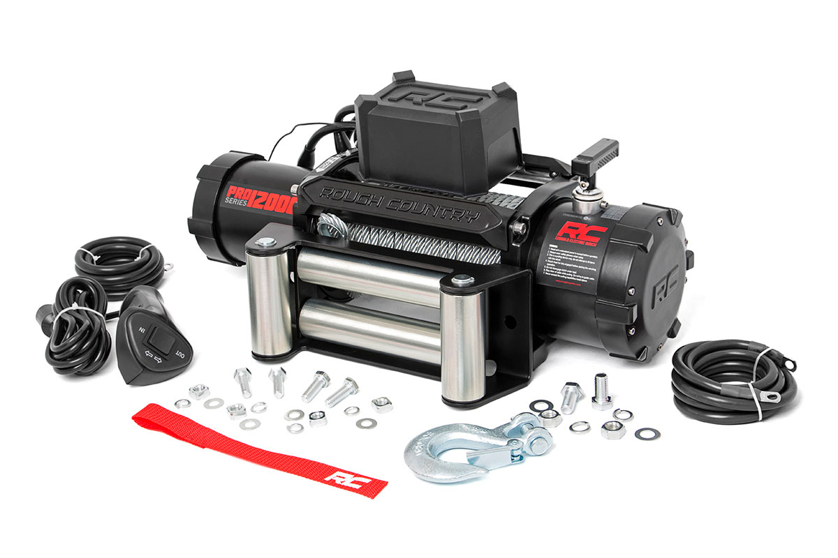 Rough Country 12000LB Pro Series Electric Winch | Steel Cable FREE SHIPPING