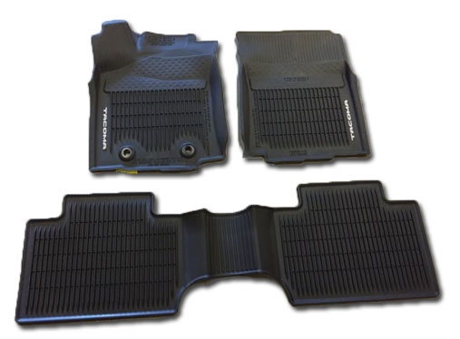 All Weather Floor Liners Tacoma Double Cab Auto Black 2016+