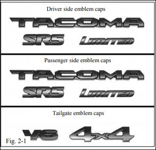 Black-out Emblem Coverlays TACOMA 2016-2019