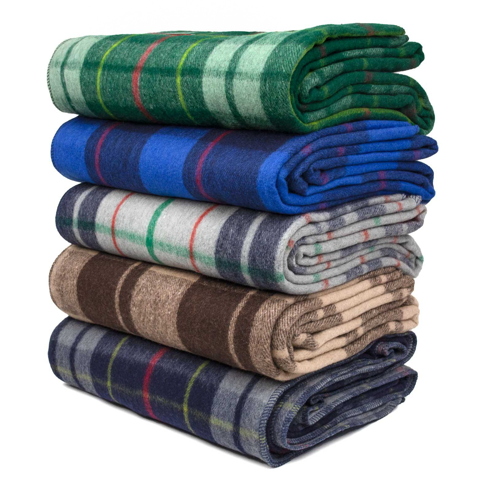 SwissLink Classic Plaid Wool Blanket Bundle