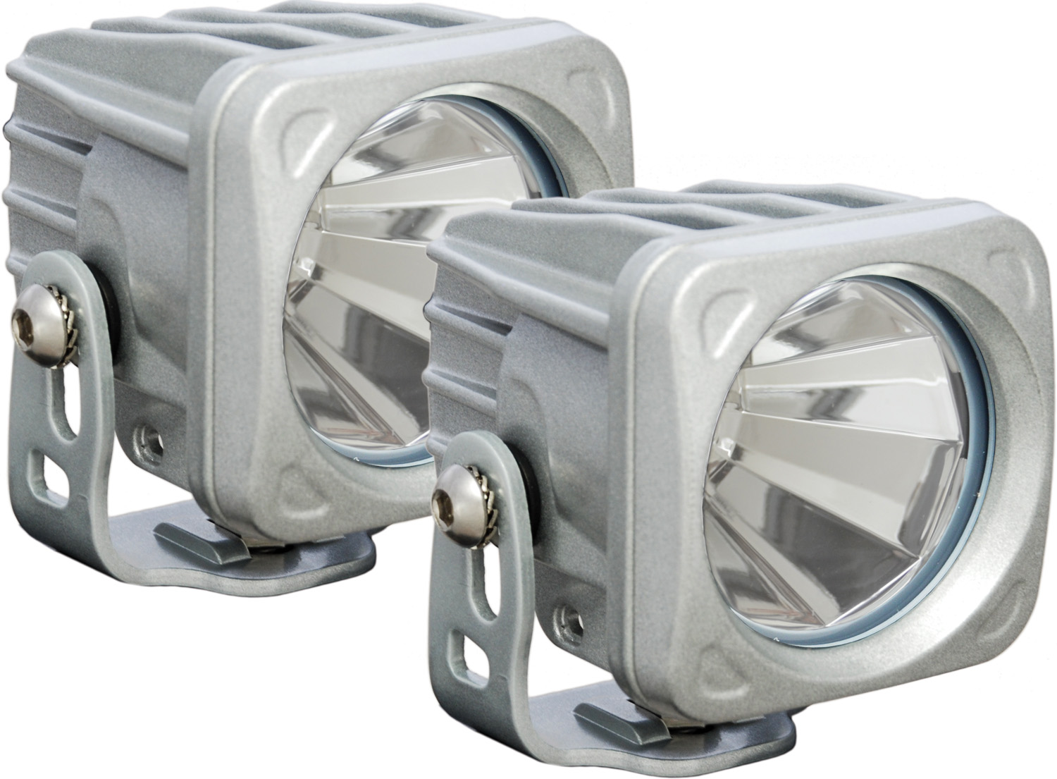 OPTIMUS SQUARE SILVER 1 10W LED 60° FLOOD KIT OF 2 LIGHTS