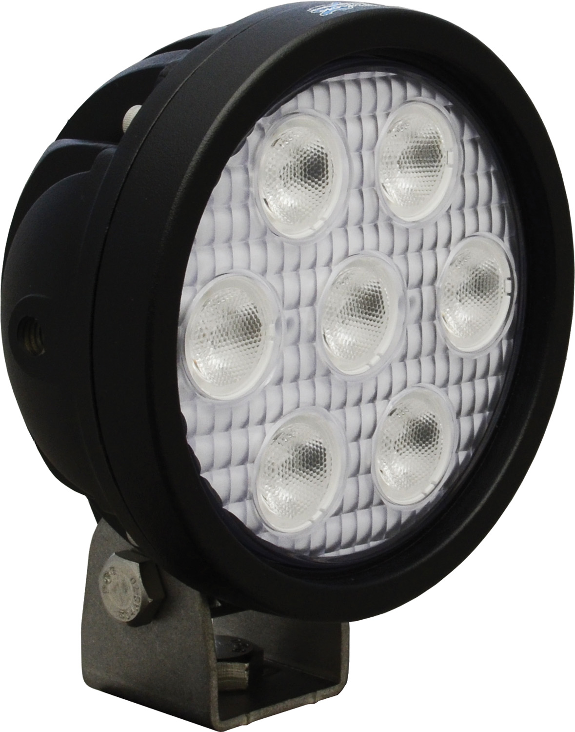 "4"" ROUND UTILITY MARKET BLACK 7 3W BLUE LED'S 40? WIDE"