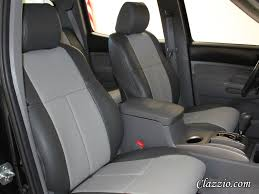 Clazzio Tacoma Access Cab w/front sports seat FRONT SEATS ONLY - Black or Dk Grey Leather & Stitching (Solid)