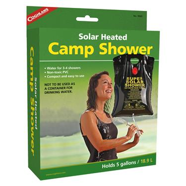 Coghlan's 5 gallon Camp Shower - Solar Heated w/Shower Head Handle & Velvue