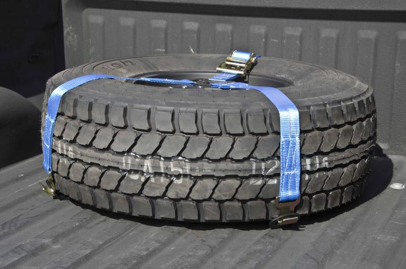 N-Fab Bed Mounted Tire Carrier Rapid Strap w/Blue Strap