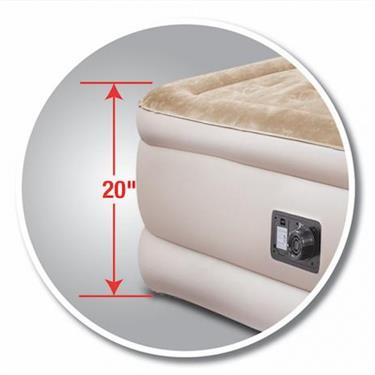 AirBedz Air Mattress Queen Size; 60x78x20; Built-in Electric Pump; High Grade PVD; Tan w/Storage bag and patch kit Ships Free