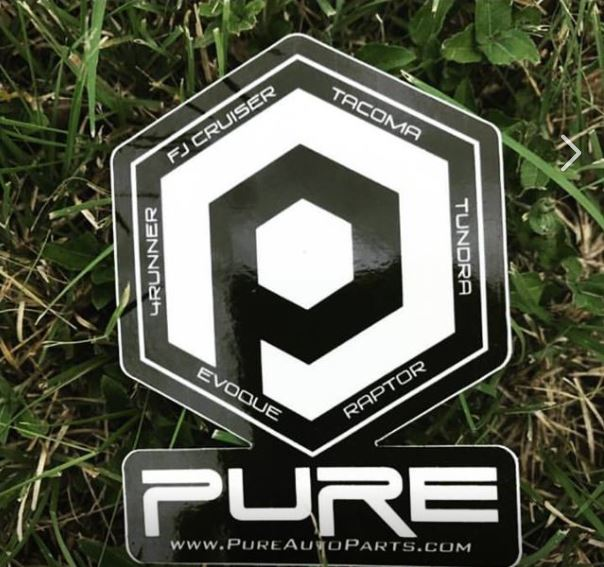 PURE branded sticker - Black & White Gloss (3x4in)