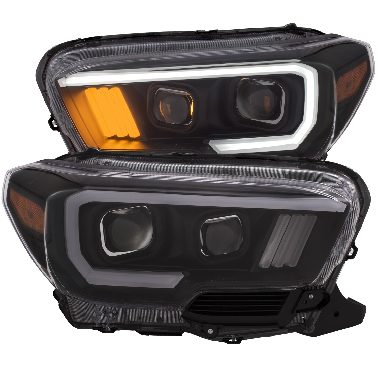 Anzo Tacoma Projector Plank Style Headlight Black w/Amber (2016+)