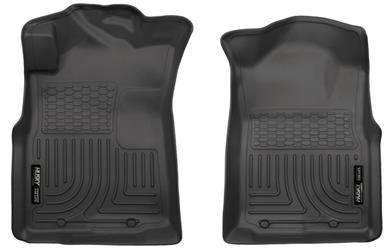 Husky Floor liner, Molded smooth fit raised ribs (2 piece) DBL Cab - 2005-2015