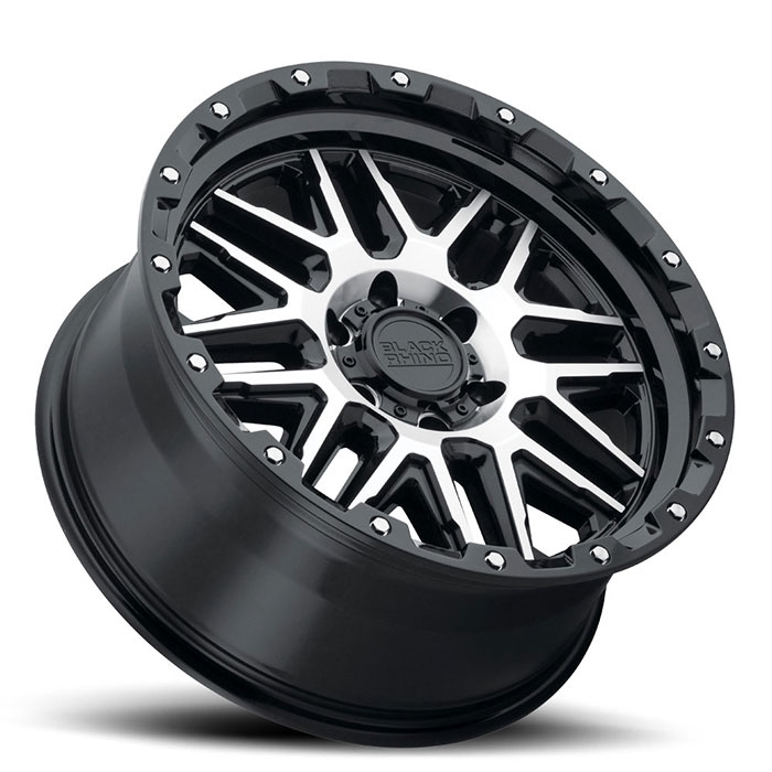BLACK RHINO ALAMO 17x9 6/139.7 -18 OFFSET GLOSS BLACK w/MACHINED FACE/STAINLESS BOLTS - 1995+