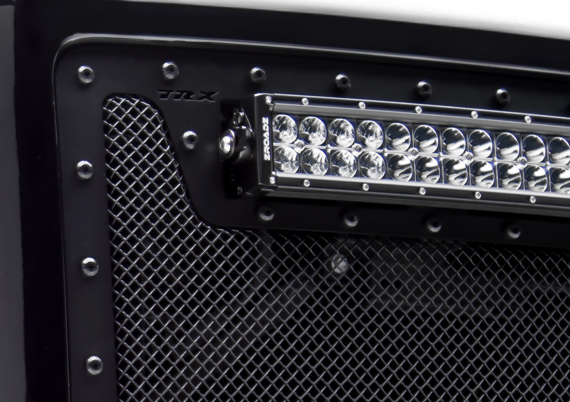 "Tacoma, TORCH Series LED Light Grille 1 - 20"" LED Bar, Formed Mesh Grille, Main, Insert, 1 Pc, Black Powdercoated Mild Steel"