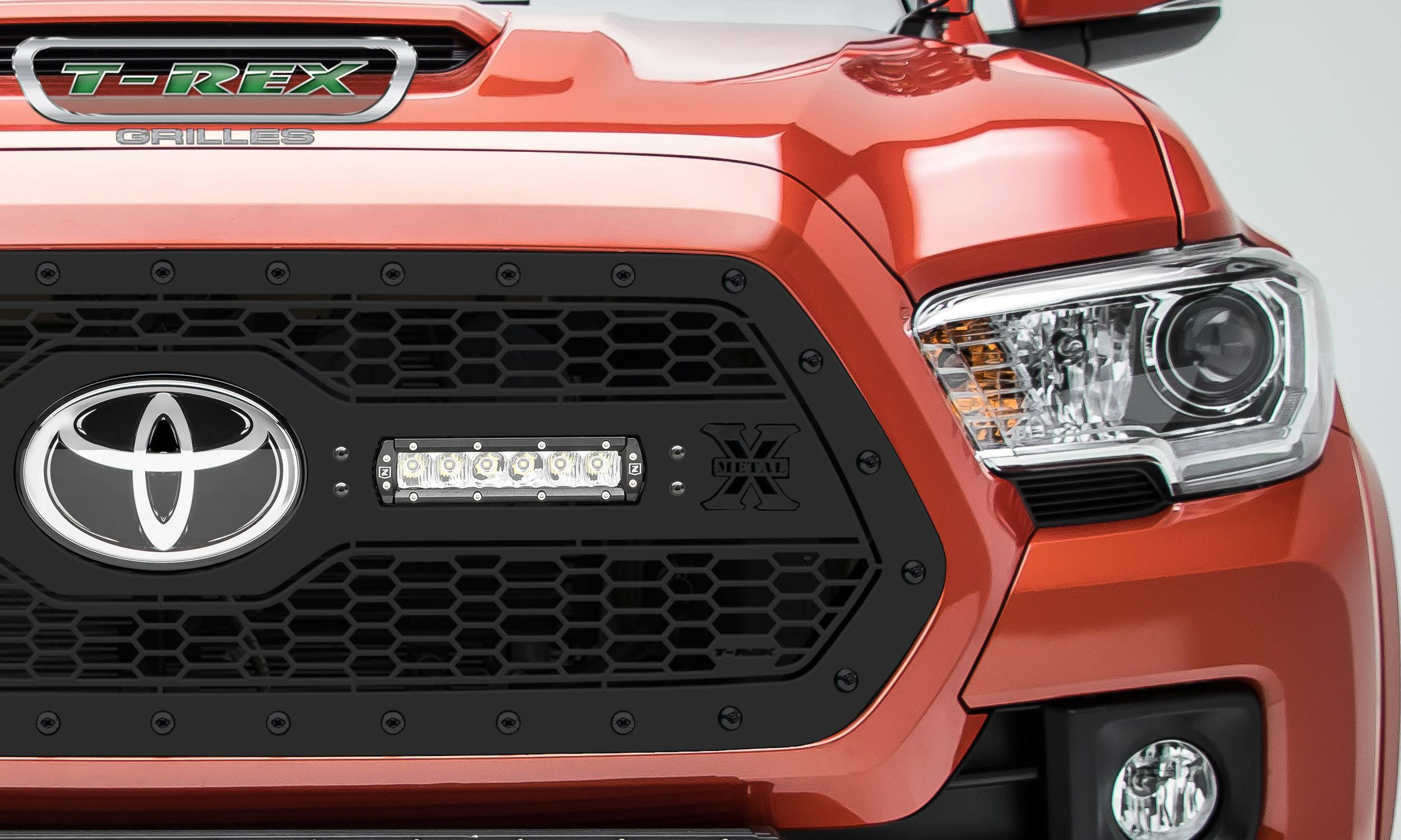 "T-Rex Tacoma Stealth Laser Torch Grille, Black Studs (2) 6"" LEDs, Not Compat w/Camera"